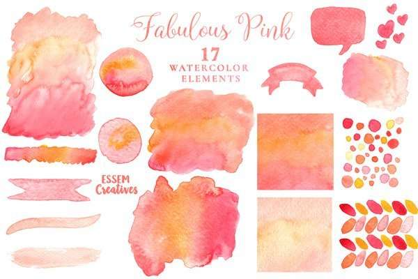 Black Friday Sale Watercolor Pink Texture Wedding Clipart