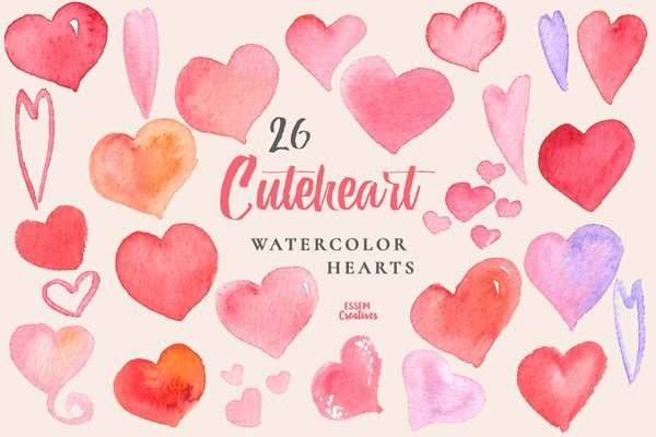 Black Friday Sale Watercolor Hearts Valentine Clipart