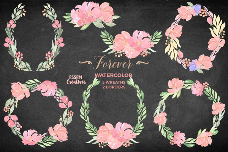 Black Friday Sale Watercolor Flower Clipart