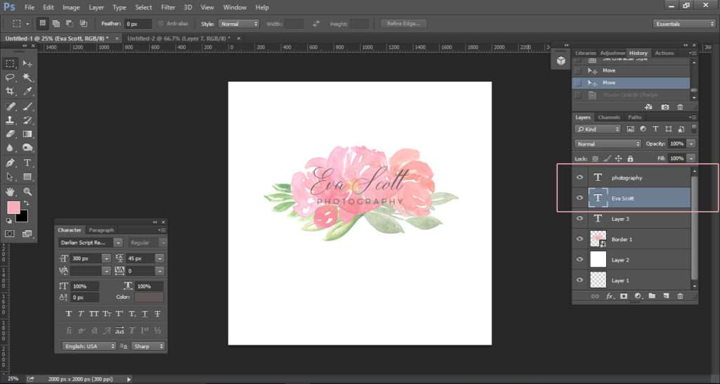 How to create a watercolor logo with clipart tutorial