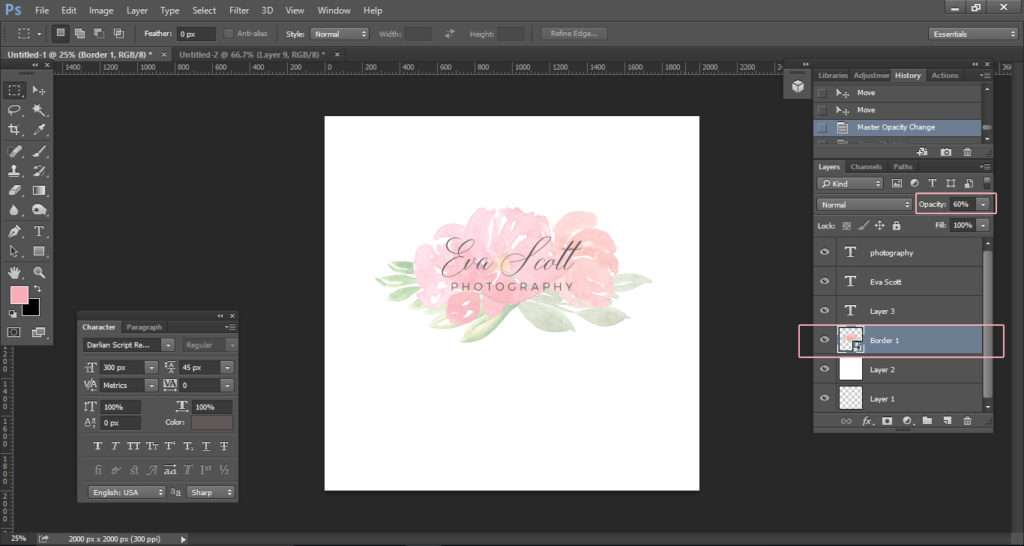 How to create a watercolor logo with clipart tutorial 9