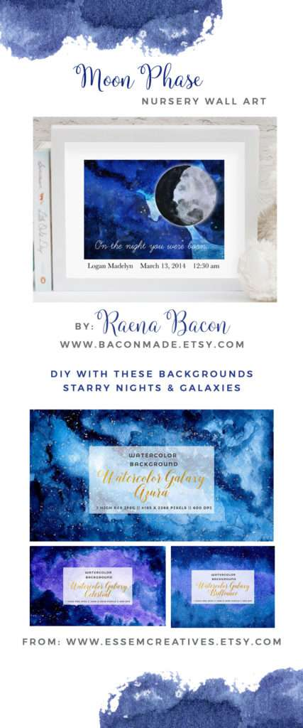 Moon Phase Starry Night Nursery Wall Art