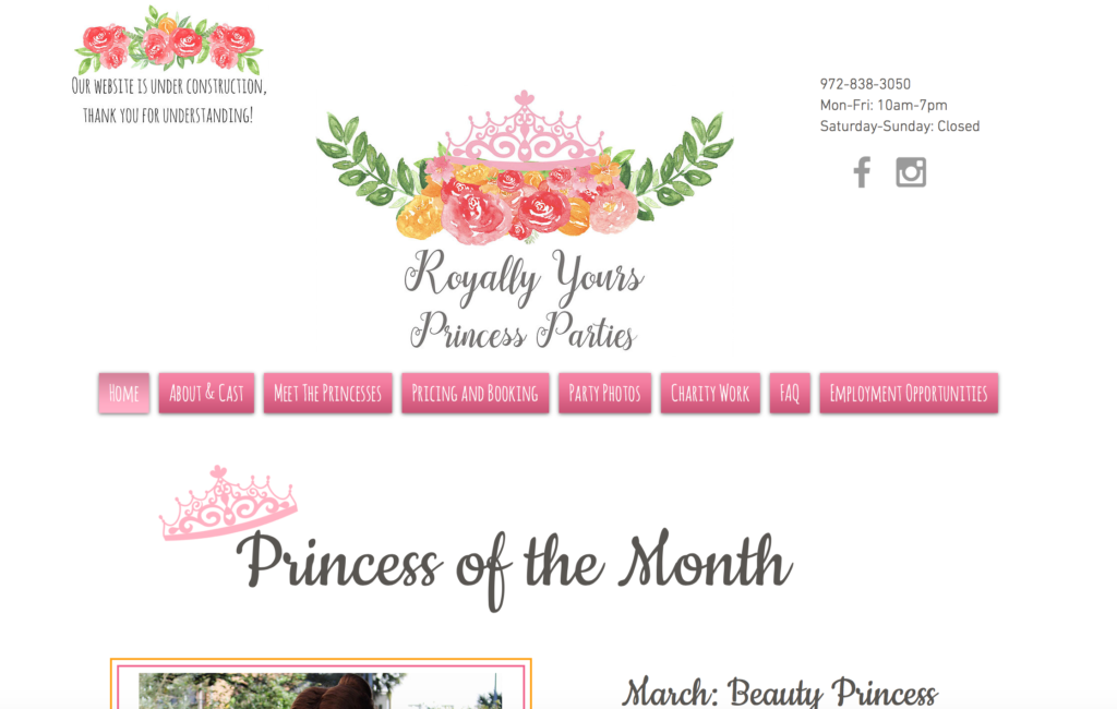Princess Theme Parties Website Design