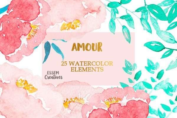 Blush Pink Watercolor Peonies Clip Art