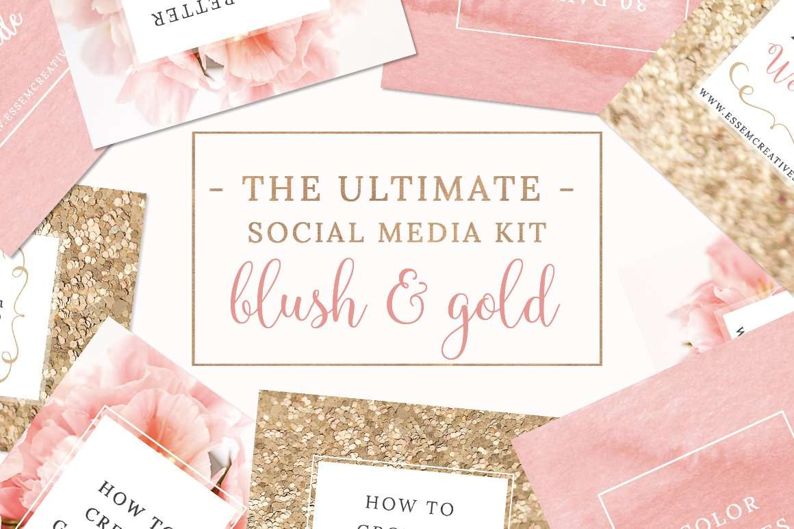 Blush Pink and Gold Social Media Templates for Instagram, Pinterest ...