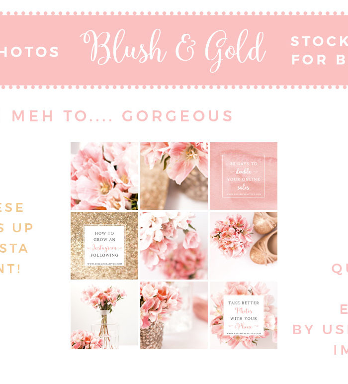 Blush and Gold Stock Photos | Floral Feminine Business Branding | Photos for Blog Social Media | Website Header | Blog Header | Social Media Images | Watercolor Gold Glitter Images | Photos for Instagram | Styled Desktop Stock Photography | Click through to check out this affordable bundle of photos >>