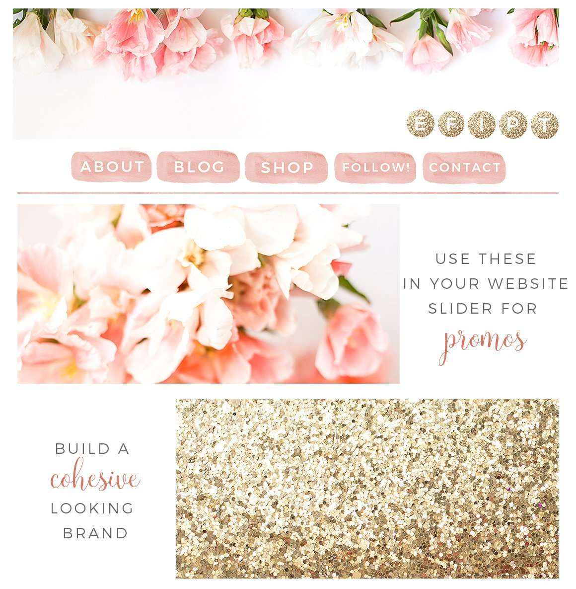 Blog: Blush And Gold Website Blog Branding Kit, Feminine Blog