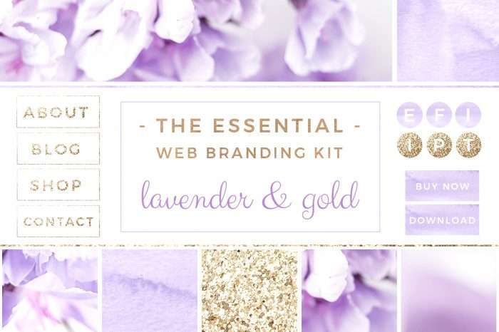 Lavender and Gold Web Blog Branding Kit | Feminine Blog Design Template | Website Elements | Stock Photos | Blog Header Banner | Social Media Icons | Solopreneur Branding Resources | Branding Palette | Click through to check out this gorgeous blog branding kit >>