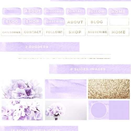 Lavender and Gold Web Blog Branding Kit | Feminine Blog Design Template | Website Elements | Stock Photos | Blog Header Banner | Social Media Icons | Solopreneur Branding Resources | Branding Palette | Click through to check out this gorgeous blog branding kit >>
