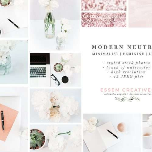 Modern Neutral Rose Gold Stock Photos Bundle | Social Media Branding, Floral Desktop Photos for Blog, Website, Instagram, Facebook