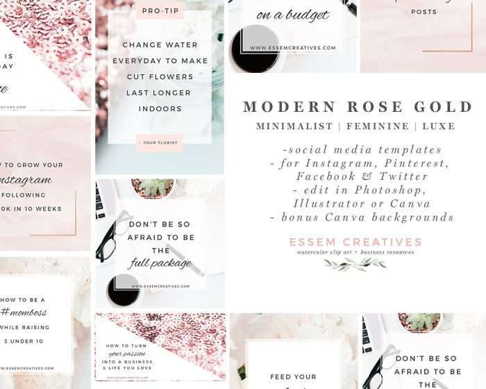 Modern Rose Gold Social Media Templates | Clean Minimalist Branding | Stock Photos for Blog | Instagram Templates | Pinterest Templates | Quick and easy Social Media Graphics for Solopreneurs | Branding Essentials | Click through to check out this awesome product >>
