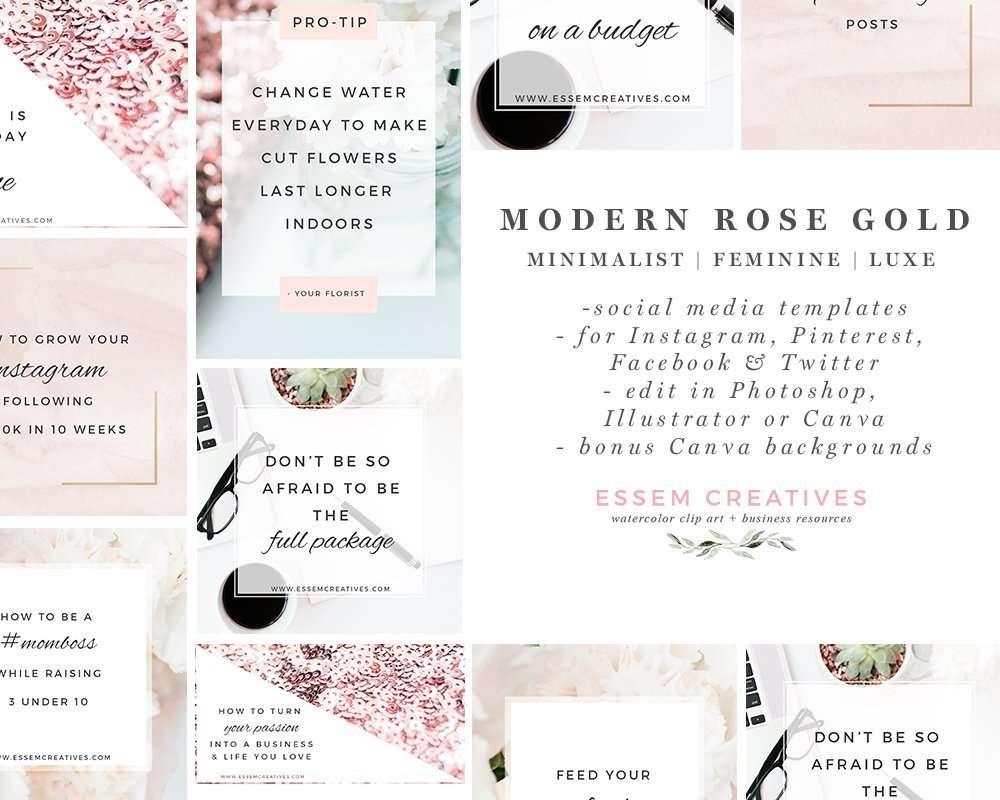 Modern Rose Gold Social Media Templates Clean Minimalist