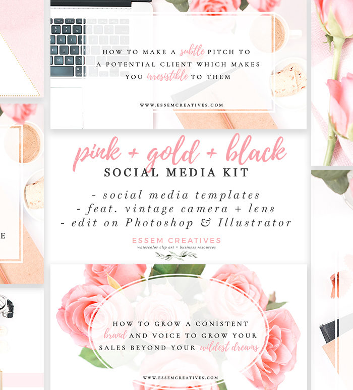 Pink Gold Black Social Media Templates, Photographer Marketing Templates, Flowers & Vintage Camera Stock Photos | If you're looking to grow your social media following without spending hours creating graphics, then check out this set of Social Media Templates | Click to see it >>