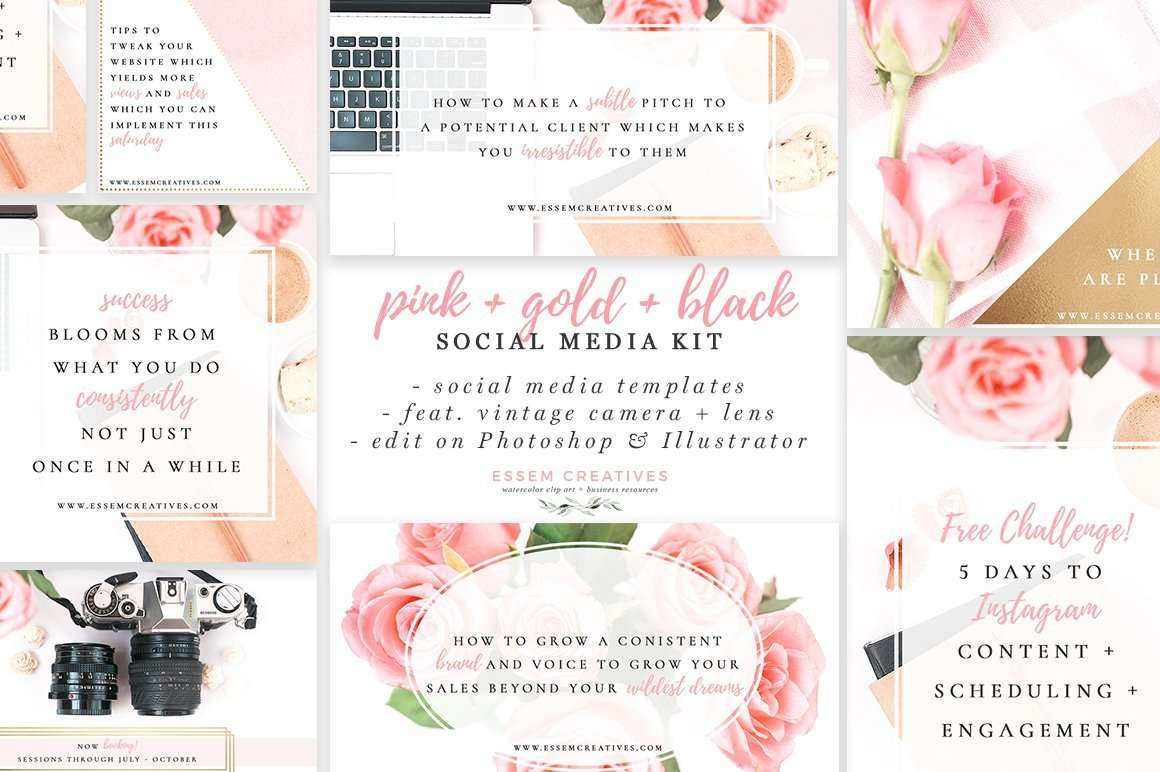 pink gold black social media templates photographer marketing templates flowers vintage camera stock photos