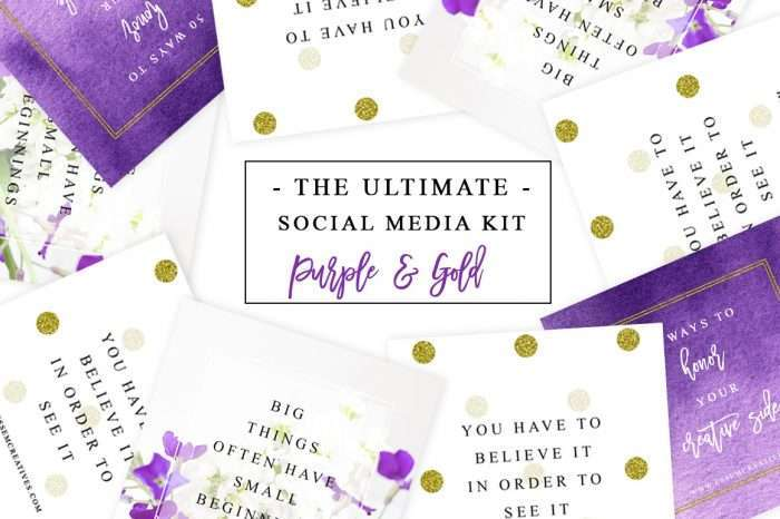 Purple and Gold Social Media Templates for Instagram Facebook Twitter Pinterest