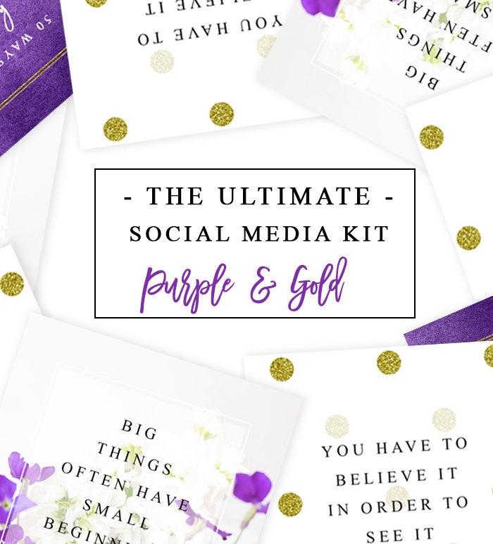 Purple and Gold Social Media Templates for Instagram Facebook Twitter Pinterest