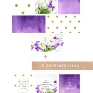 Purple and Gold Social Media Templates for Instagram, Pinterest, Facebook and Twitter. Use these photoshop templates to quickly and easily make graphics for your blog posts & social media handles. Achieve a cohesive & consistent branding. Click through to see >>