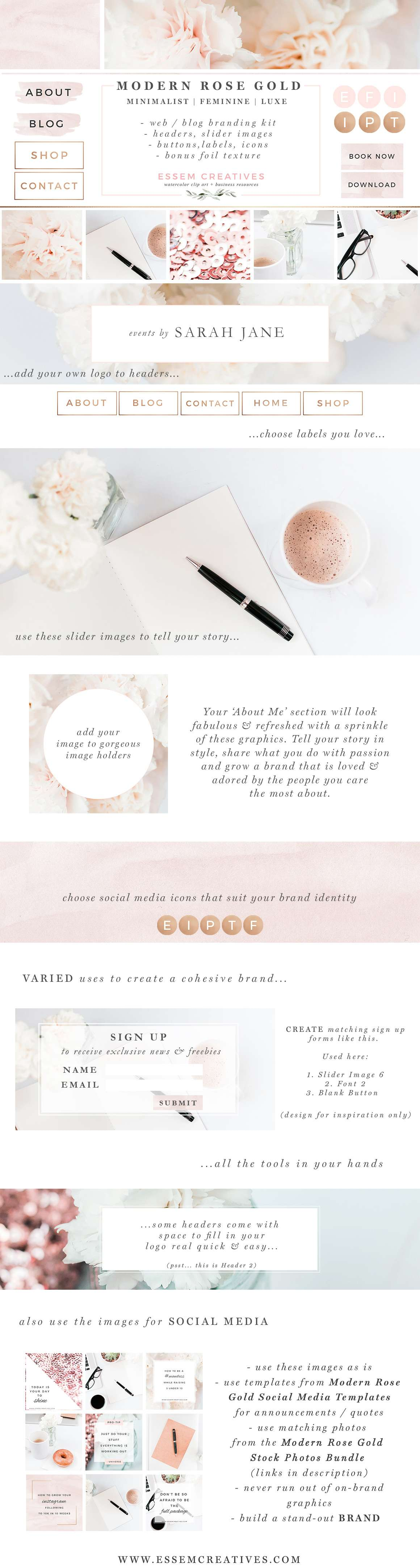 Website Branding Kit, Floral Pink Peach Rose Gold Theme, Blogger Design,  Wordpress Blog Header, Social Media Icons, Buttons, Labels, Borders