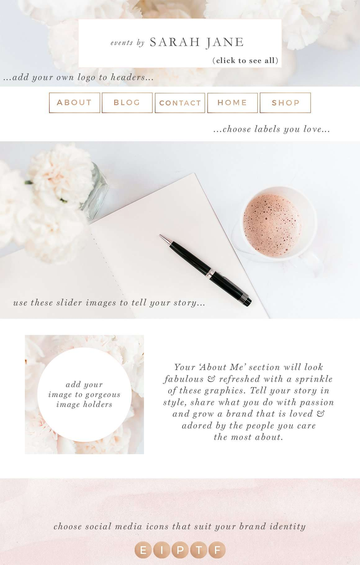 website branding kit  floral pink peach rose gold theme