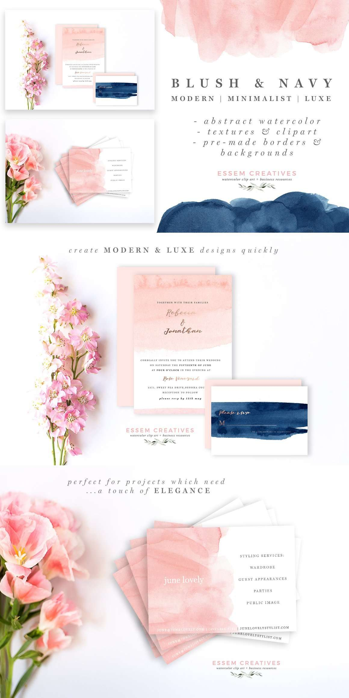 Blush & Navy is a set of hand-painted watercolor clipart, textures, background and borders. The watercolors have been painted using a loose hand, in a minimalist, dreamy, airy style. There are subtle ombres, rough textures (perfect for layering), and charming brush strokes, painted in a blush & navy color scheme. These are perfect for use in wedding invitations, other stationery, logos & branding, website banners & headers, business cards, packaging materials, art prints, coffee mugs, etc.