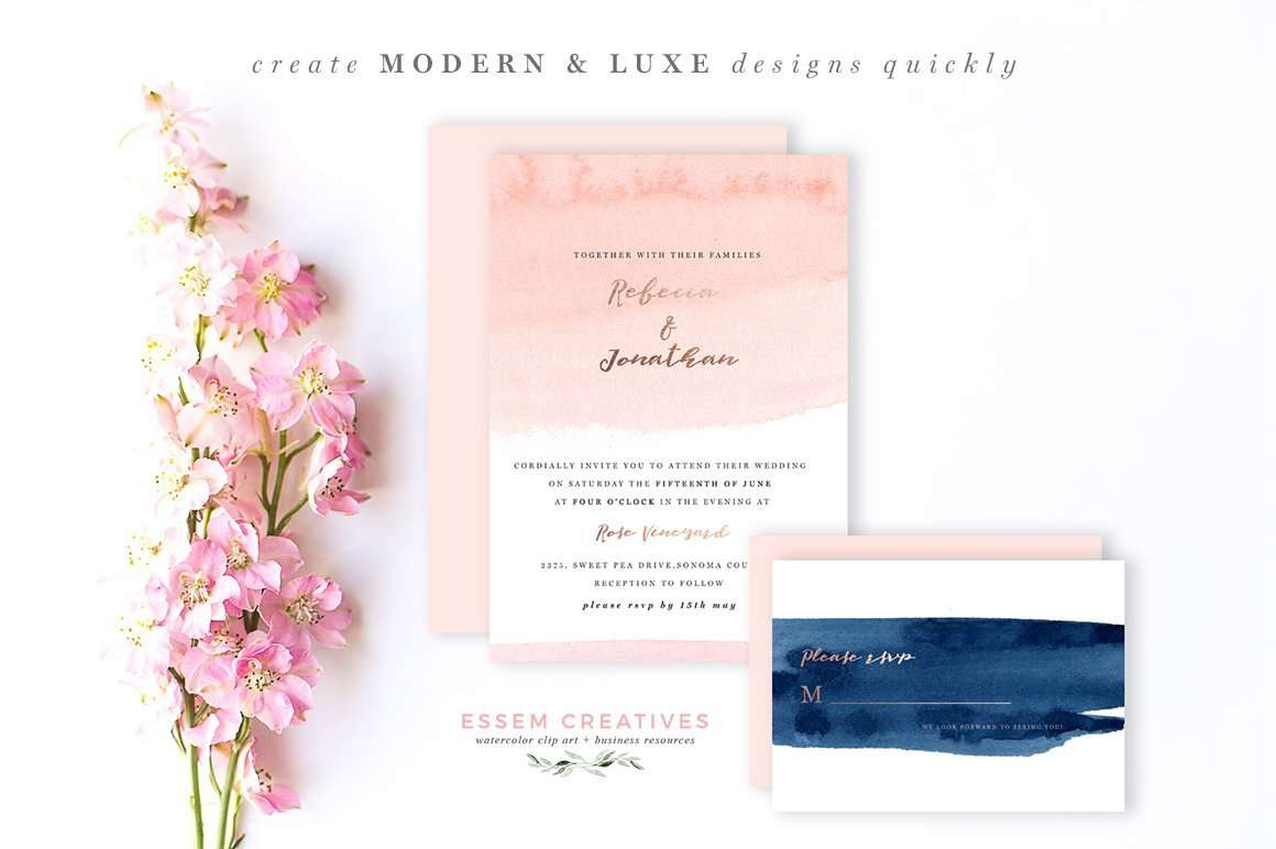 Blush and Navy Abstract Watercolor Backgrounds for invitations branding packaging 5