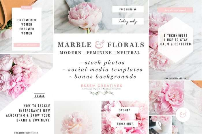 Feminine Stock Photos and Social Media Templates Bundle | Peonies | Peony images | Lifestyle photos for bloggers | Photos for Website Headers & Banners | Branding Photos | Resources for small business owners, entrepreneurs, solopreneurs to grow their business >>