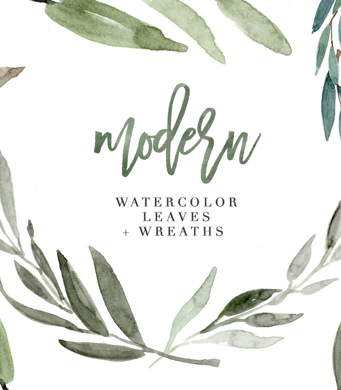 Modern Watercolor Leaves Clipart for designing Wedding Invitations quickly & easily. Also use these for logos, branding, creating floral patterns & more. These are hand painted branches & wreaths with a touch of Eucalyptus and Olives! >>