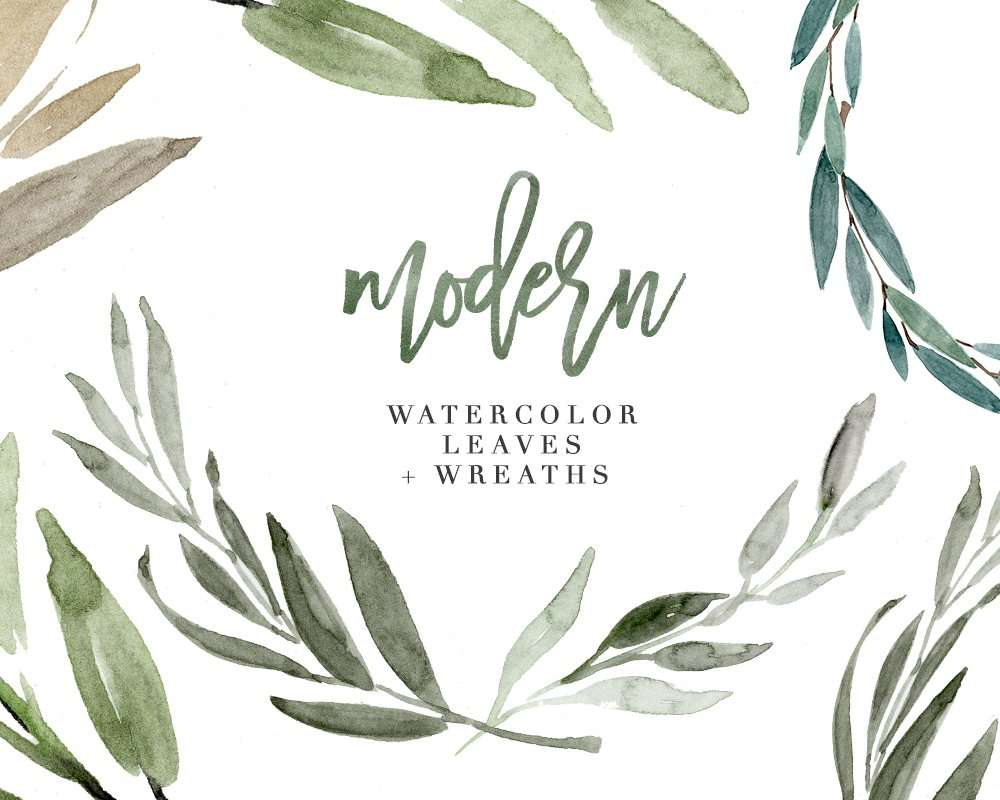 Modern Watercolor Leaves Clipart For Wedding Invitations Logos Amp More