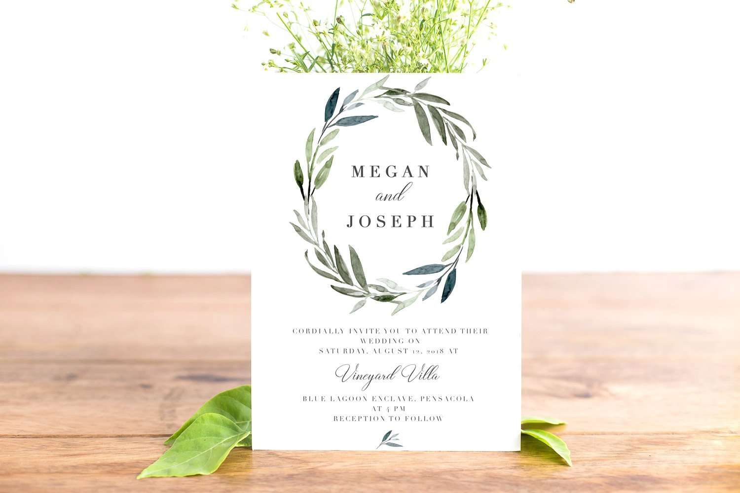 Clipart For Wedding Invitations Free: Modern Watercolor Leaves Clipart For Wedding Invitations