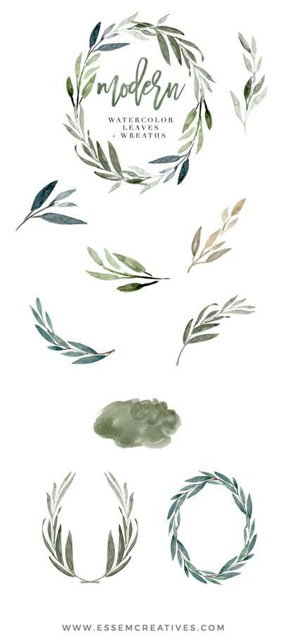Modern Watercolor Leaves Clipart For Designing Wedding Invitations Quickly Easily Also Use These