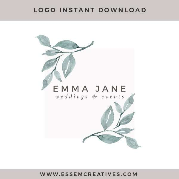Modern Watercolor Logo with Fine Art Leaves | Neutral Branding | Earth tones Color Palette | Minimalist, feminine, rustic, luxe branding for small businesses and blogs >>