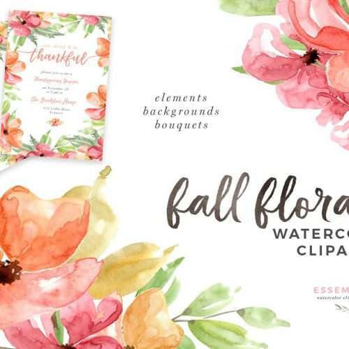Fall Floral | Autumn Fall Watercolor Floral Clipart, 5x7 Digital Papers