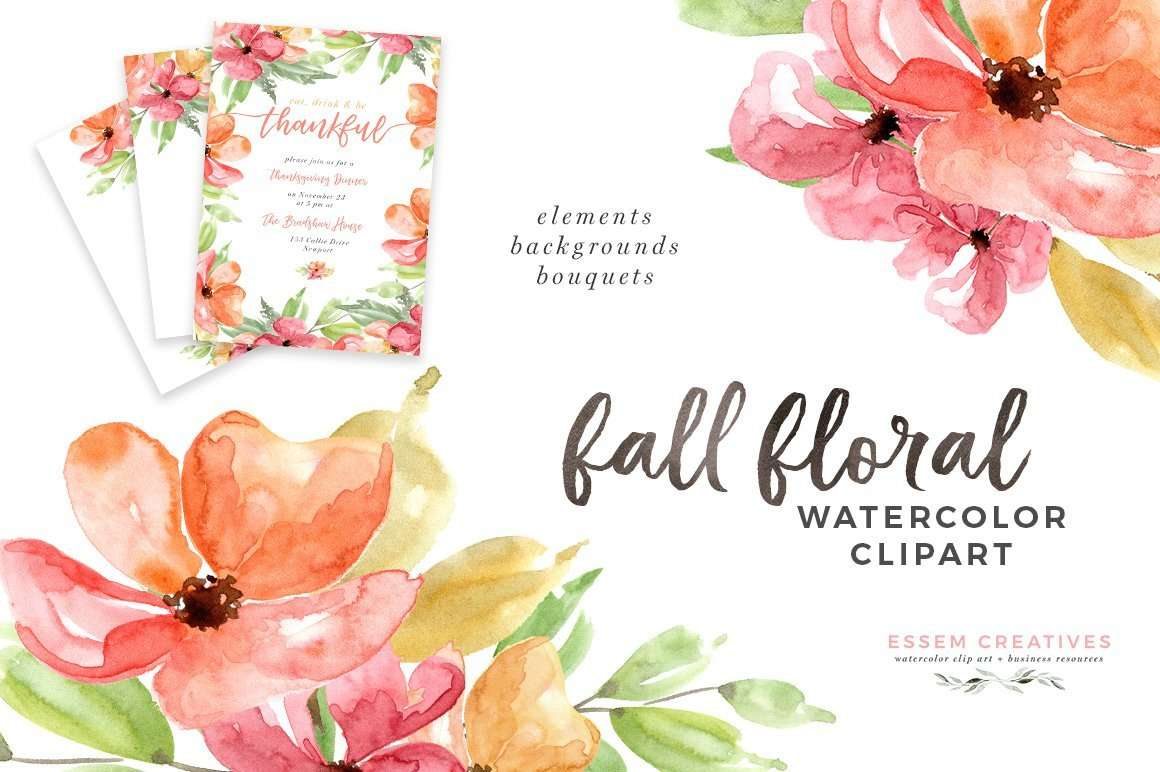 Autumn Fall Watercolor Floral Clipart 5x7 Digital Papers