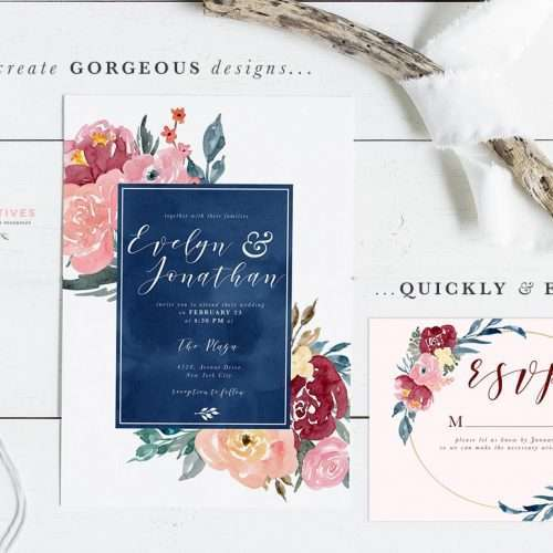 Burgundy Blush Navy Watercolor Backgrounds & Borders is a set of floral digital papers for quick & easy design projects. Use these backgrounds to make wedding invitations, birthday party invites, table numbers, flyers & posters, printable wall art and more. Click to check them out>>