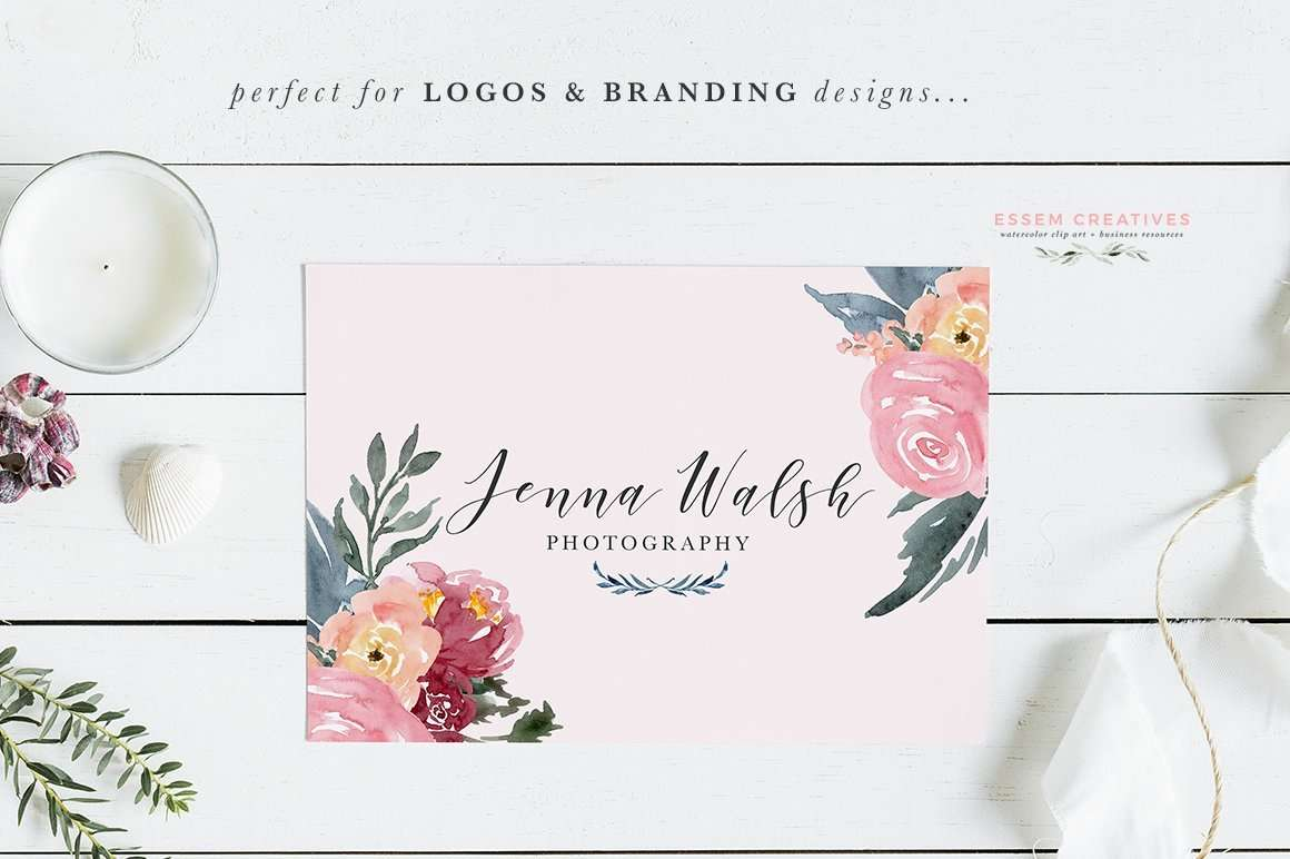 Burgundy Blush Navy Watercolor Backgrounds 5x7 Floral Borders