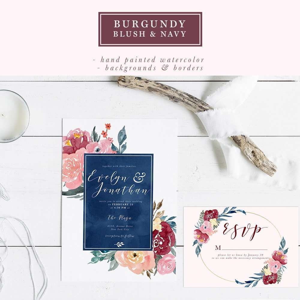 Burgundy Blush Navy Watercolor Backgrounds, 5x7 Floral Borders