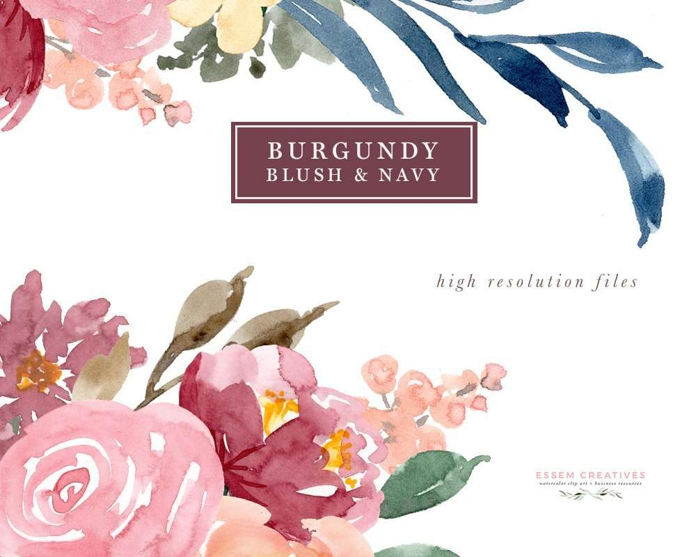 Burgundy Blush Navy Watercolor Flowers Clipart Set