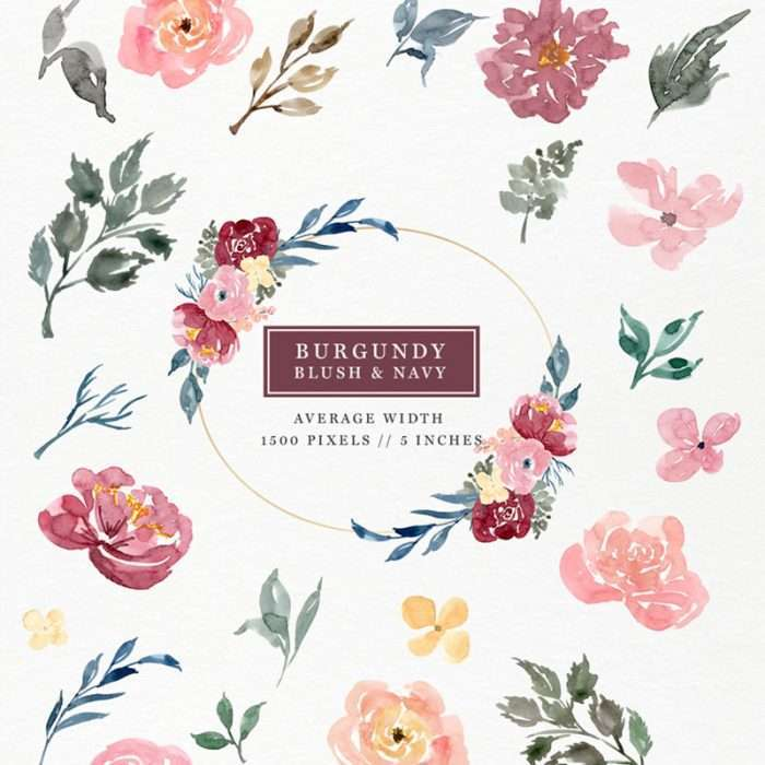 Burgundy Blush Pink and Navy Blue Watercolor Flowers Clipart set features separate florals, leaves, branches, twigs, berries, buds and elements for you to create your own custom and unique designs. Click through to check them out (3 minute tutorial included)>>
