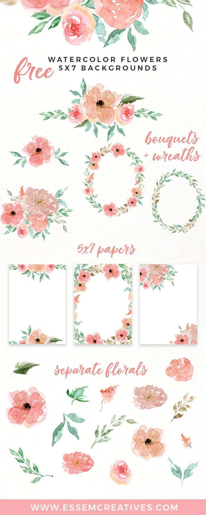 Free Watercolor Flowers Clipart, Floral Wreaths, 5x7 Borders Backgrounds | Use these free digital resources for your next DIY art & crafts project | Use to make birthday party invitations, wedding invites, printable wall art & home decor, logo for your blog or etsy shop, a banner for your website & more. Click to get it>>