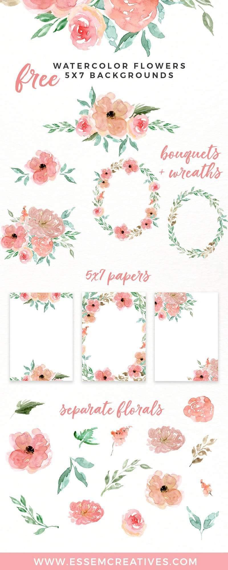 free watercolor flowers clipart, floral wreaths, 5x7 borders