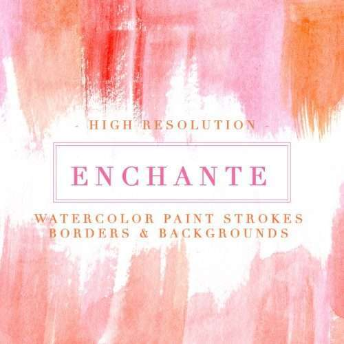 ENCHANTE | Watercolor Paint Strokes Splash Clipart Set features feminine brush strokes and splashes painted in pink, orange and coral. Also included are 5x7 and 12x12 backgrounds and borders perfect for wedding invitation, table numbers, welcome signs, printable wall art, greeting cards, and more. Click to check it out>>