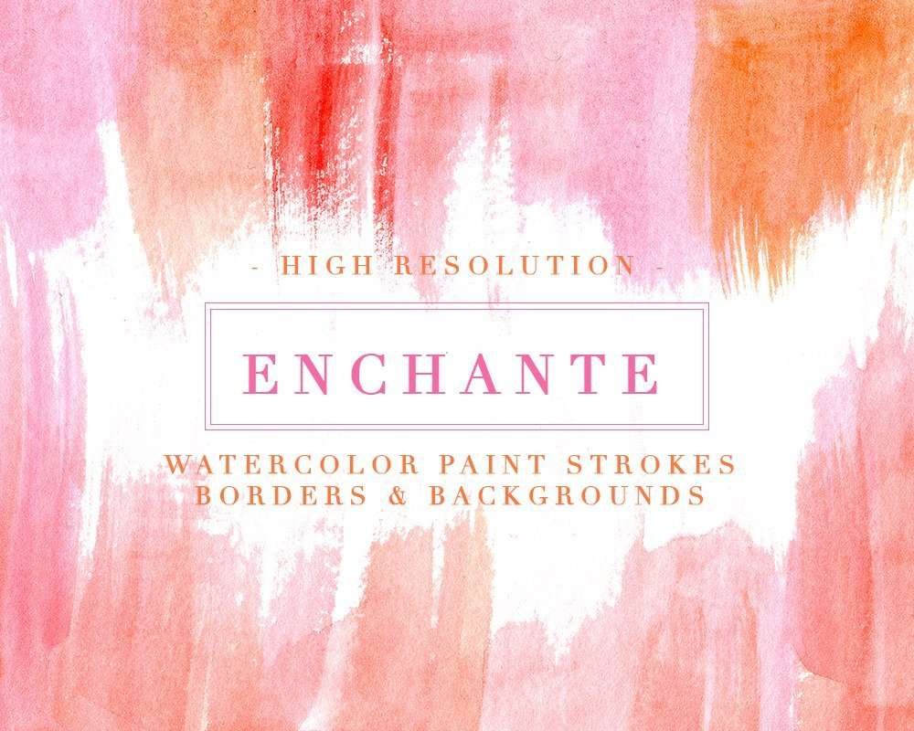 Enchante | Watercolor Paint Strokes Splash Clipart Background, 5x7 Card