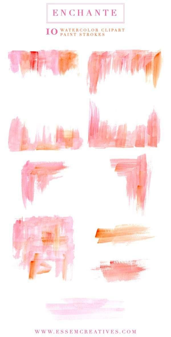Enchante | Watercolor Paint Strokes Splash Clipart ...
