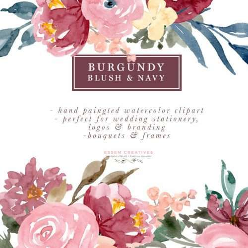 Burgundy Blush Navy Floral Watercolor Bouquets Borders Corners & Frames features a set of pre-made handpainted clipart which is perfect for quickly and easily designing stationery (wedding invitations, flyers, etc), logos & branding, social media posts, wall art prints and more! Click to check it out>>