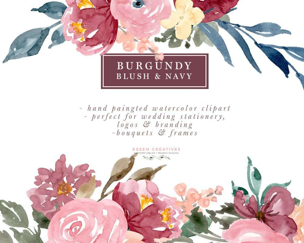 Burgundy Blush Navy Floral Watercolor Bouquets Borders Corners Frames
