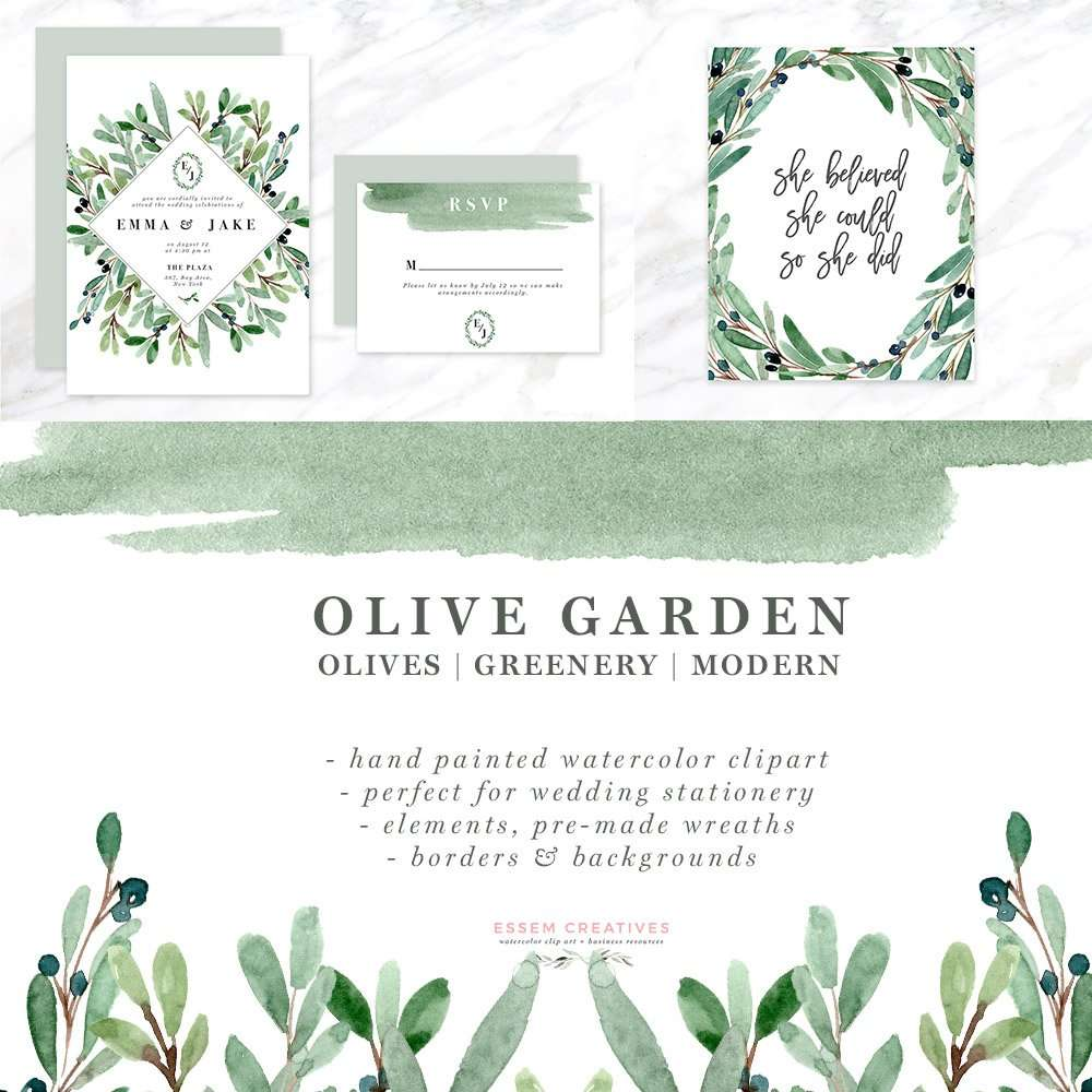 Watercolor Olive Branch Clipart, Olive Leaves Wreath, Leaf