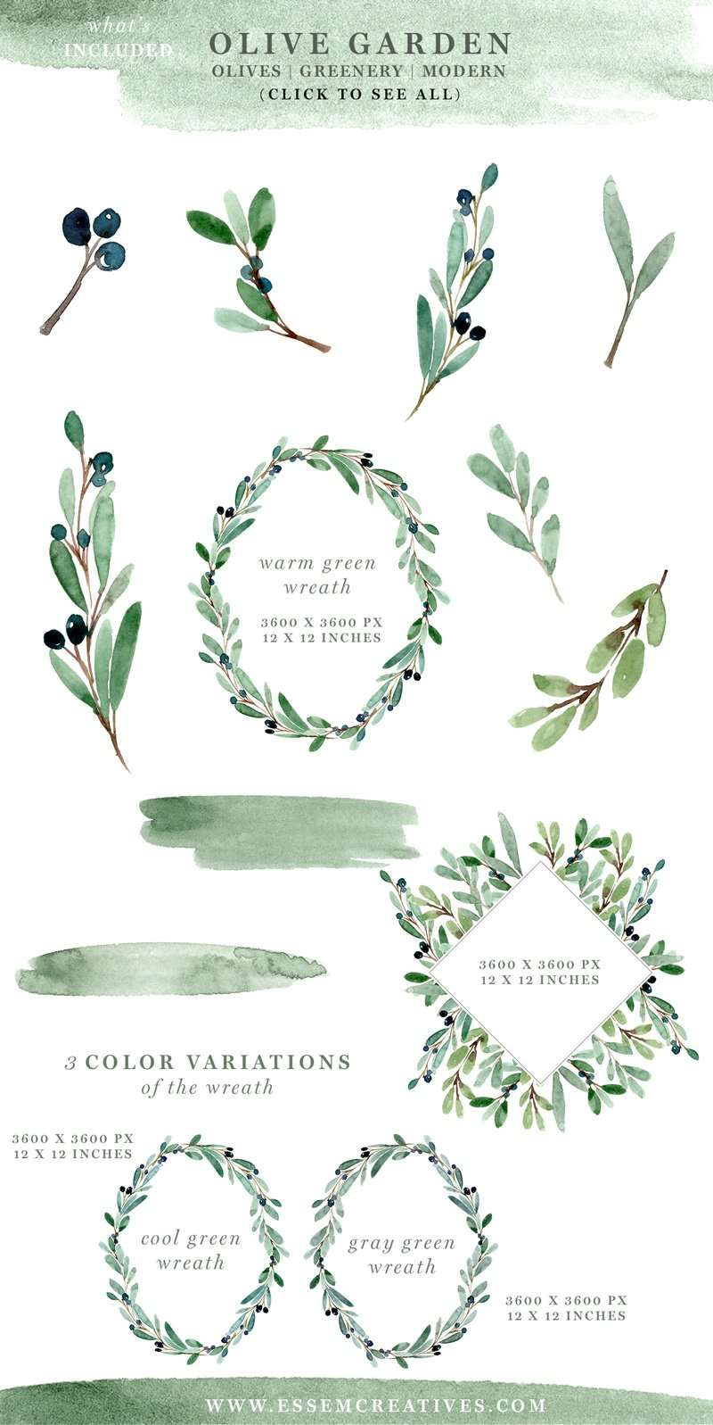 Olive Garden | Watercolor Olive Branch Clipart Set featuring olive leaves, branches and wreaths, digital papers and leafy borders. Perfect for designing custom branch logos, website branding, wedding invitations, birthday party invites, stationery, home & nursery wall art decor, and more. Click through to check it out>>