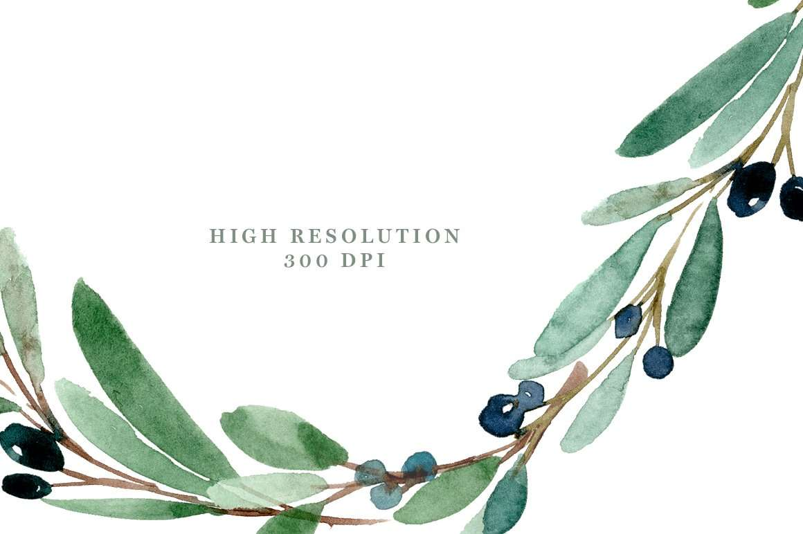 Home Made Wall Decor Watercolor Olive Branch Clipart Olive Leaves Wreath Leaf