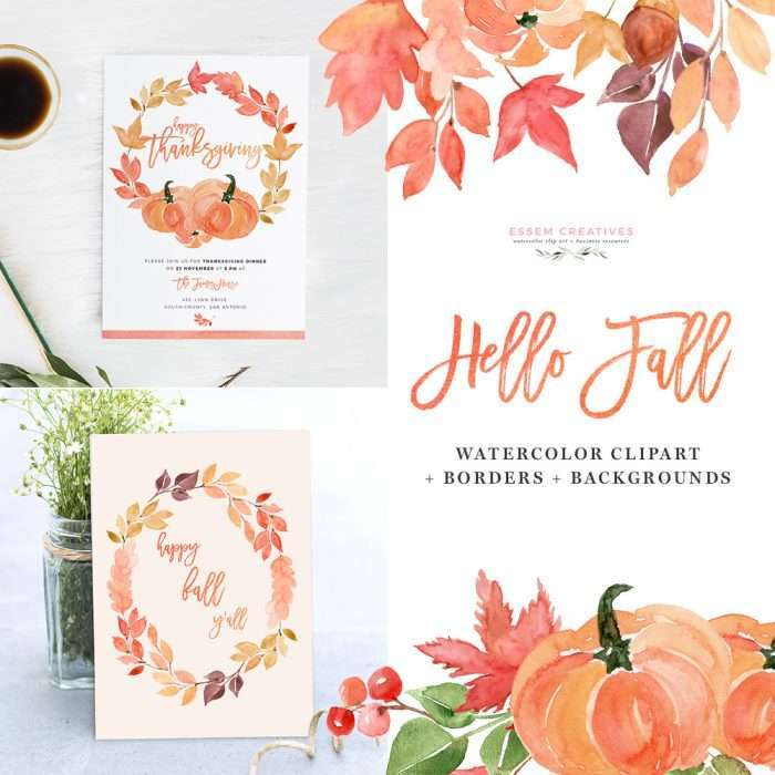 """Hello Fall"" features fall / autumn themed watercolor clipart. Included in this Design Kit are separate leaves, branches, berries, buds, and also pre-made fall wreaths & bouquets for quick projects. I've also pre-made a few 5x7 inch digital papers which you can use for quickly putting together a design. Simply choose a digital background/border, add your text, and done! Also included in this watercolor clipart set are hand painted watercolor splashes and textures which will help you achieve a watercolor effect for your design projects - quickly & easily. Painted in fall autumn colors of orange, yellow, rust, maroon with a touch of green, these are perfect for thanksgiving cards, halloween cards, fall wedding invitations, birthday party invites, seasonal social media graphics, for instagram posts & more."