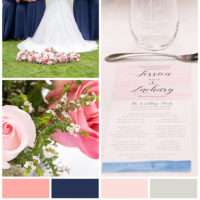 Blush Pink & Navy Wedding in Gaylord, Michigan - Check out this gorgeous wedding with shades of blush, navy & coral and featuring charming & easy to make DIY stationery (wedding details & signs). Read about all the vendors who came together for this classic & elegant wedding.
